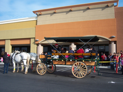Large wagonette at Modesto giving christmas wagon rides.